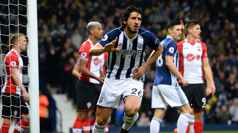 Ahmed Hegazi celebrates giving West Brom the perfect start with his header