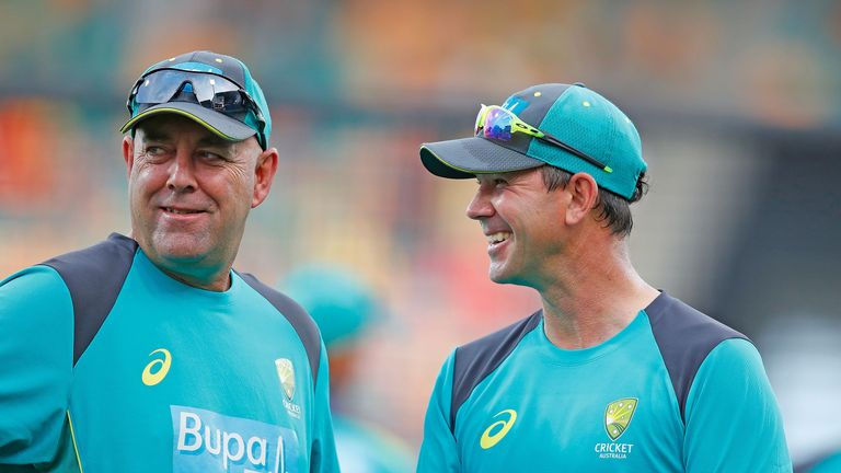 Ponting is supporting Darren Lehmann (left) during the T20 Tri-Series