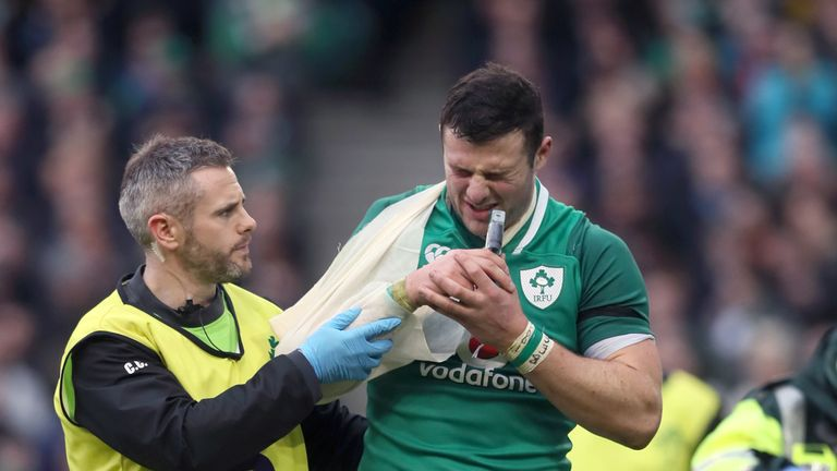 Robbie Henshaw suffered a shoulder injury while scoring his second try against Italy
