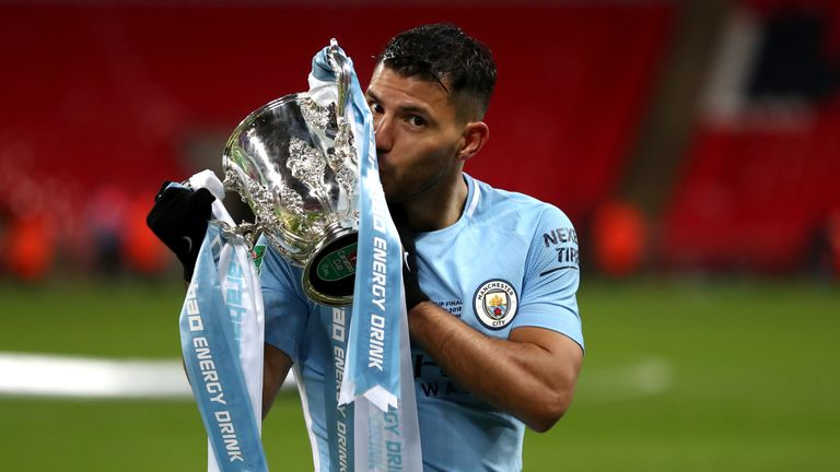Sergio Aguero celebrates winning the Carabao Cup with Manchester City last season