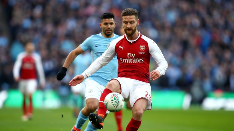 Shkodran Mustafi was at fault for the first Manchester City goal when he was caught out of position by Sergio Aguero