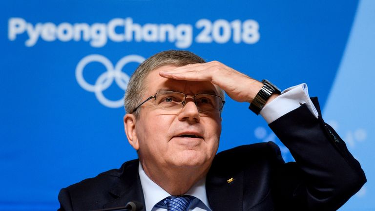 Thomas Bach has talked about a 'serious shadow' at the Winter Olympics