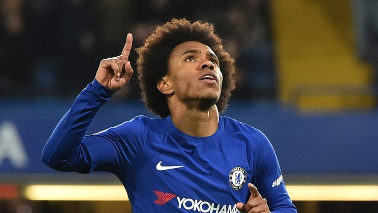 Willian scored twice as Chelsea brushed aside Hull in the FA Cup