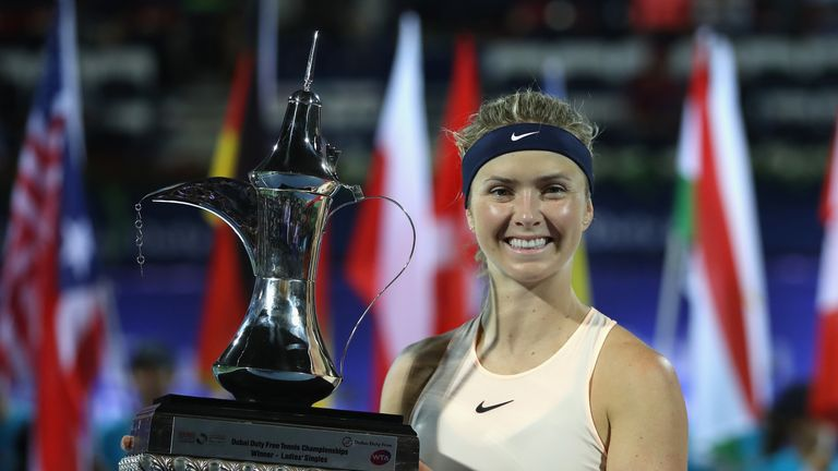 a94994e157fca Elina Svitolina of Ukraine poses with the trophy after winning the WTA Dubai  Duty Free Tennis