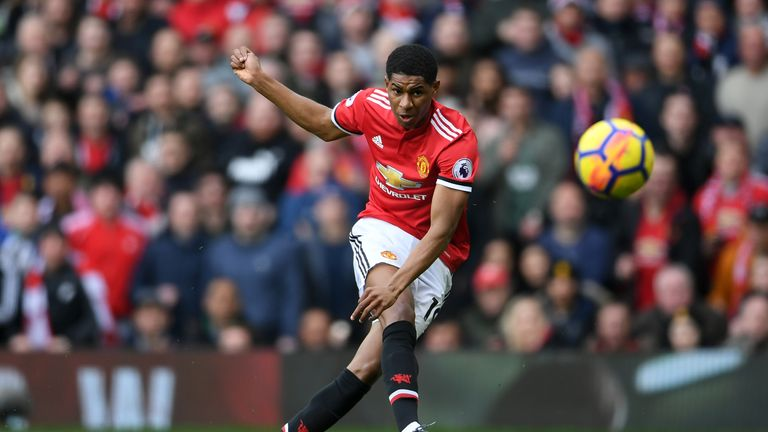 Rashford fires United ahead on 14 minutes with a thunderous effort