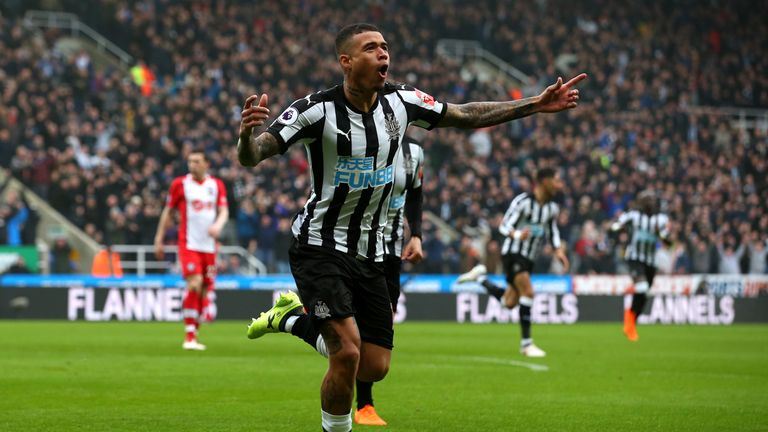 Kenedy celebrates after opening the scoring at St James' Park