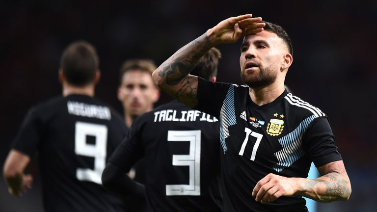 Nicolas Otmendi salutes the crowd after pulling a goal back for Argentina