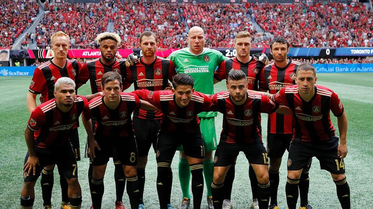 Walkes (back row, second from the left) in the Atlanta United line-up