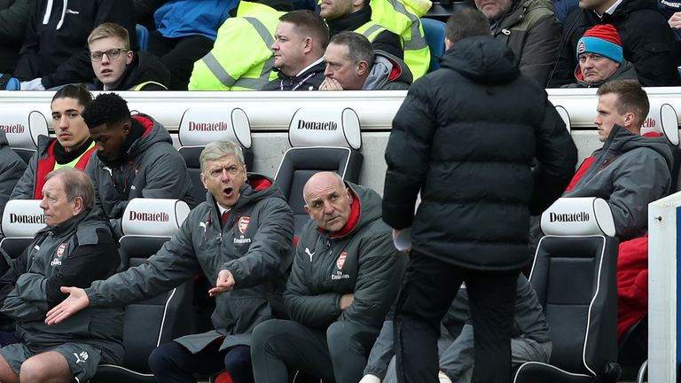 Arsene Wenger watched his Arsenal side slump again at Brighton