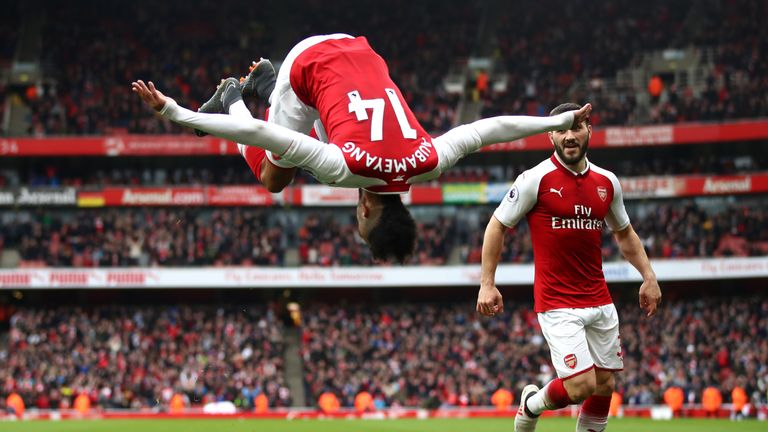 Aubameyang celebrates in style after netting Arsenal's second goal