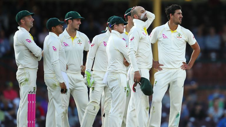 Australia await a DRS call to be revealed on the big screen during the Ashes series against England
