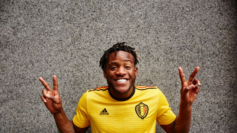 Michy Batshuayi models the new Belgium World Cup 2018 away shirt (credit: adidasUK)