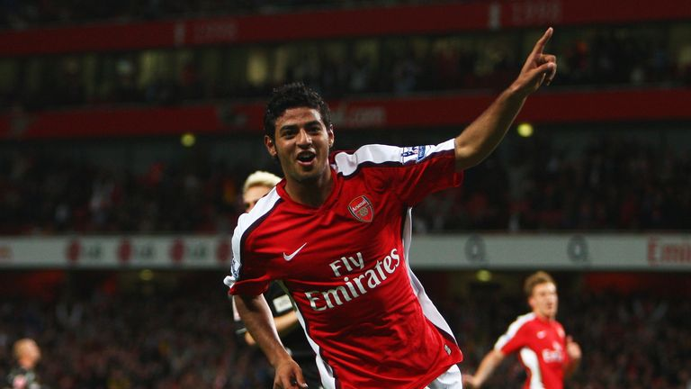 Vela celebrates a hat-trick against Sheffield United in 2008