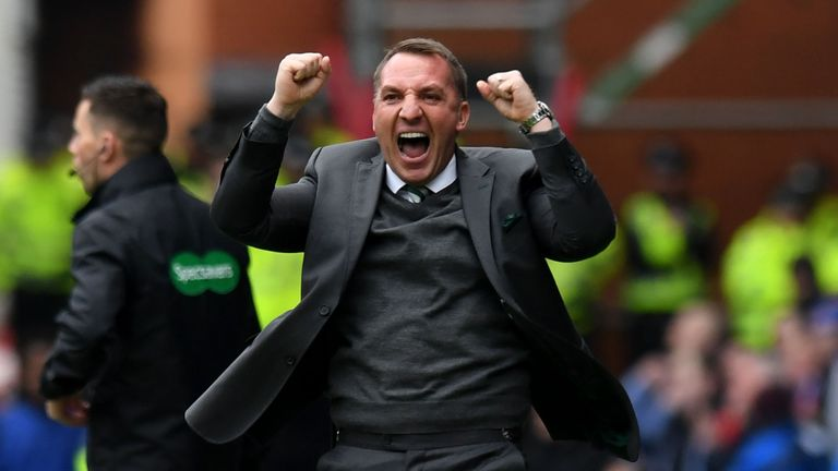 Celtic manager Brendan Rodgers celebrates winning seven titles in a row