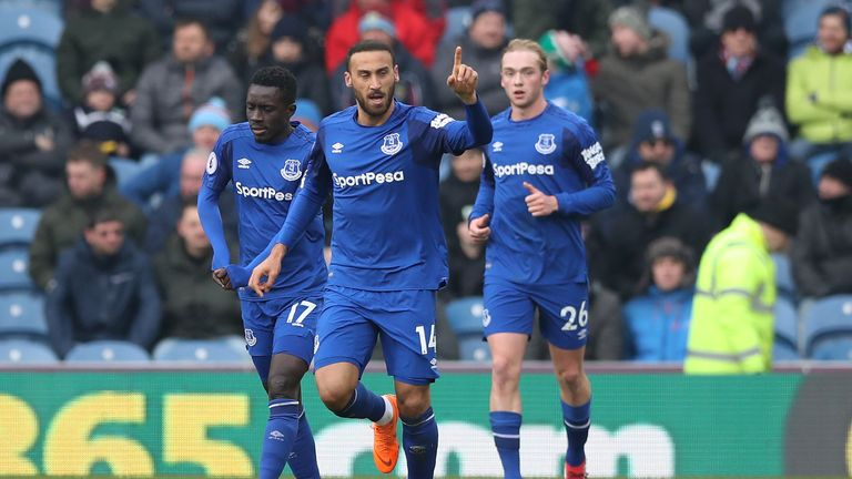 Cenk Tosun scored his first ever Premier League goal in the first half
