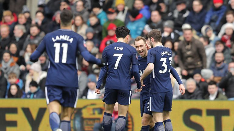 Christian Eriksen celebrates during Tottenham's FA Cup quarter-final win over Swansea