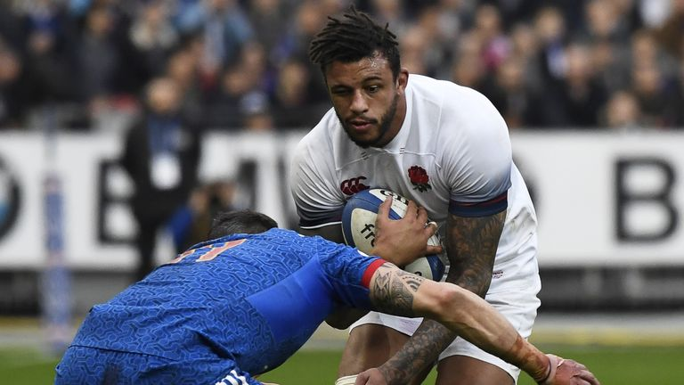 Courtney Lawes carries into contact for England against France