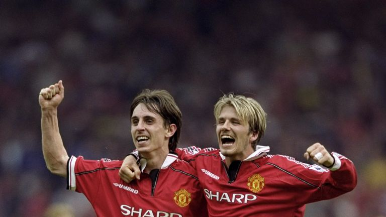 Gary Neville and David Beckham celebrate winning the title Manchester United 1999