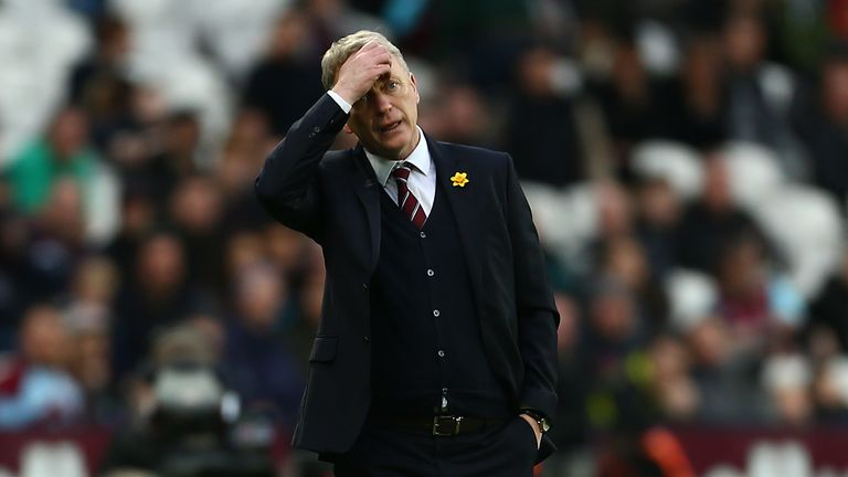 David Moyes shows the strain following a third straight league defeat