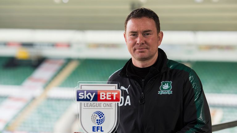 Derek Adams is the Sky Bet League One Manager of the Month for February