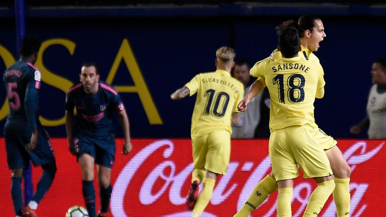 Enes Unal celebrates scoring against Atletico Madrid