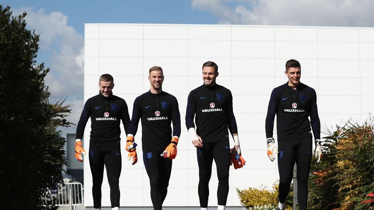 Jordan Pickford, Jack Butland and Nick Pope have been selected in England's World Cup squad, while Joe Hart (second left) was omitted