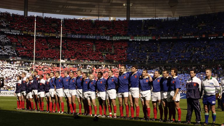 France's players singing their national anthem before kick-off in 2002