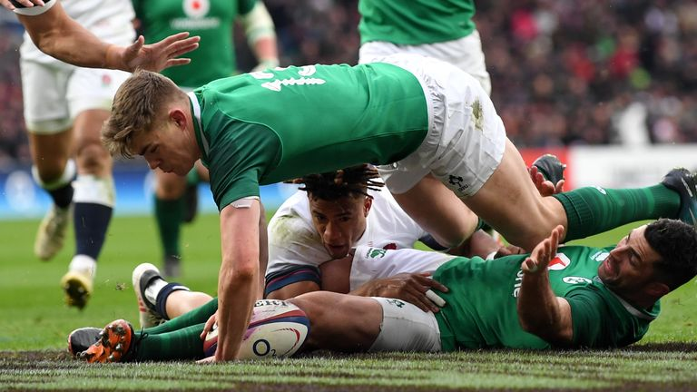 be524982e01 Garry Ringrose grounded the ball for Ireland's first try on six minutes