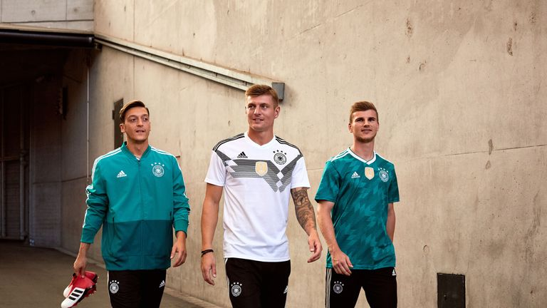 Mesut Ozil, Toni Kroos and Timo Werner model the new Germany World Cup 2018 shirts (credit: adidasUK)