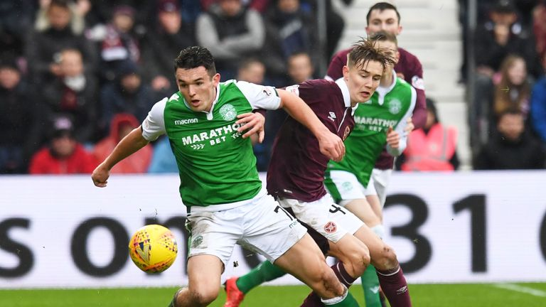 Hibernian's John McGinn (left) has six goals in 37 appearances in all competitions for Neil Lennon's Hibs this season