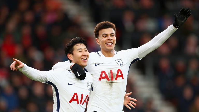 Alli and Son celebrate Tottenham's second goal against Bournemouth