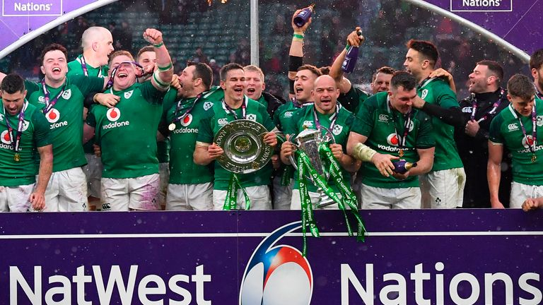 Ireland celebrate after completing the Six Nations Grand Slam at Twickenham last year