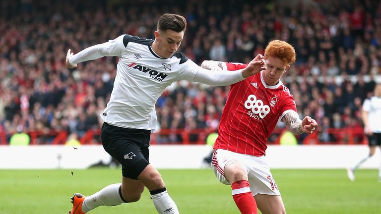 Tom Lawrence's Derby and Jack Colback's Forest clash in front of the Sky cameras in December