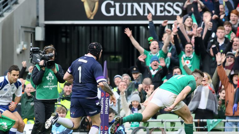 Stockdale touched down in the corner in the final minute of the first half after Ireland weathered heavy Scotland pressure