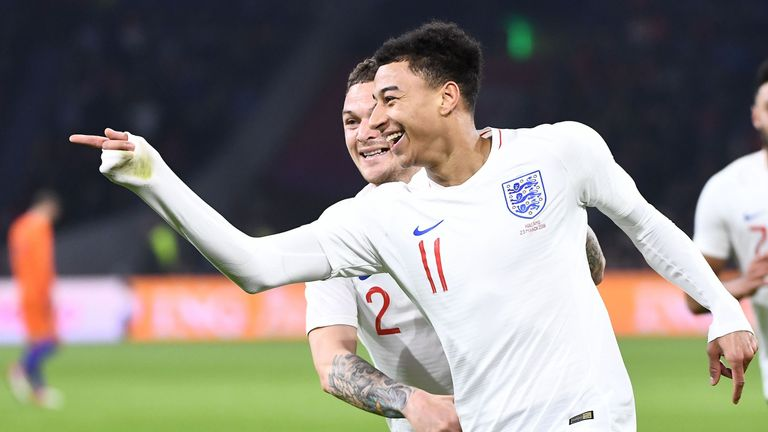 Jesse Lingard celebrates after scoring his first senior England goal