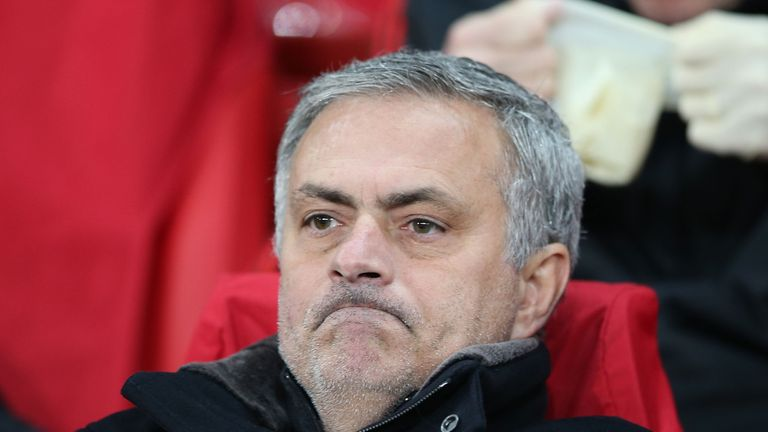 Mourinho watches on during a nightmare evening at Old Trafford