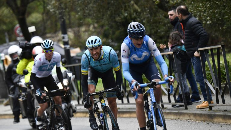 Soler, Omar Fraile and David De La Cruz ride a breakaway during the 110km eighth and last stage of the 76th edition of the Paris-Nice cycling race