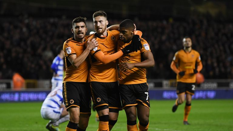 Matt Doherty is congratulated after scoring the opening goal