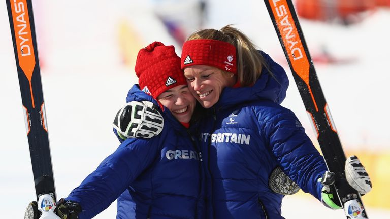 Menna Fitzpatrick (L) and guide Jen Kehoe have now won two Winter Paralympic medals in South Korea