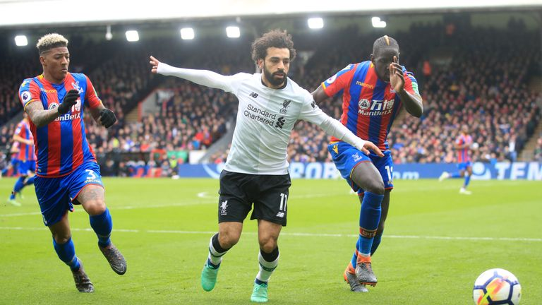 Liverpool's Mohamed Salah in action against Crystal Palace's Patrick van Aanholt (left) and Mamadou Sakho during the Premier League match at Selhurst Park