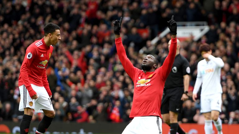 Lukaku celebrates his landmark 100th Premier League goal