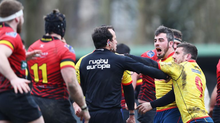 Spain players react angrily to Romanian referee Vlad Iordaschescu during their RWC Qualifier defeat to Belgium in Brussels