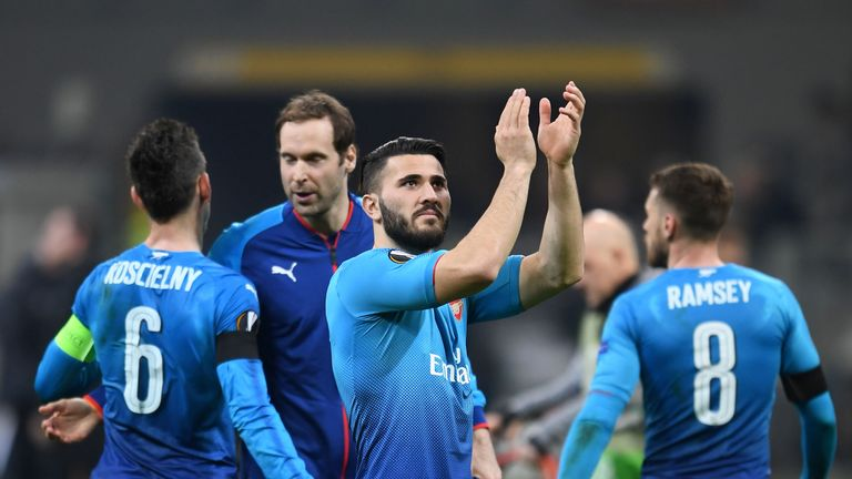 Saed Kolasinac celebrates Arsenal's win