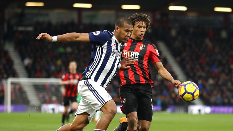 Salomon Rondon was brought down in the area by Nathan Ake