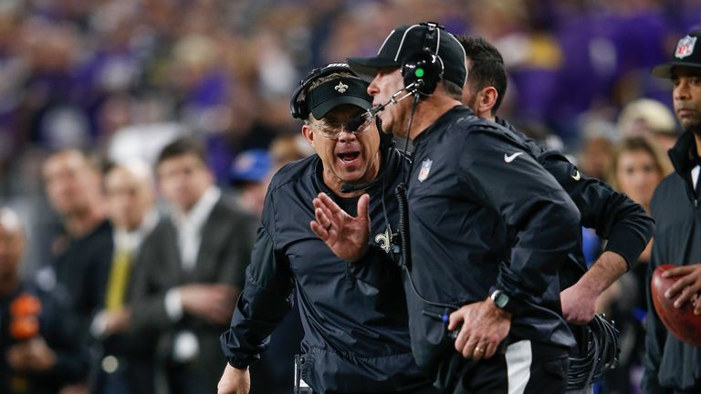 New Orleans Saints head coach Sean Payton argues with a referee during a match against the Minnesota Vikings