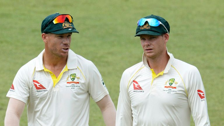 David Warner (left) and Steve Smith have both been banned for a year from Australian cricket