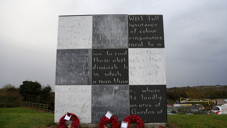 The monument to Tull at Sixfields Stadium in Northampton