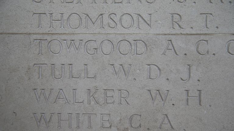 Tull's name is commemorated among the First World War dead in France