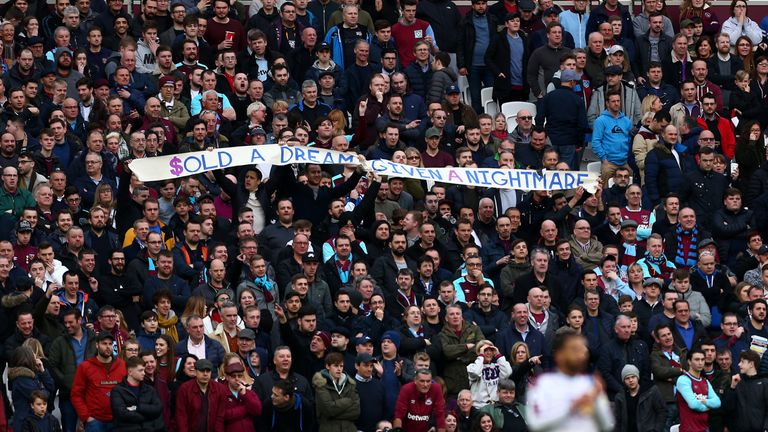 West Ham fans are unhappy following the club's move from Upton Park