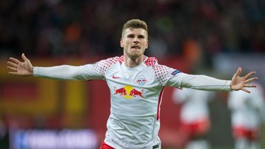 Timo Werner celebrates one of his two goals in Leipzig's thrashing of Nurnberg